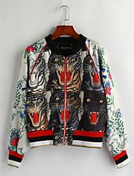 cheap -Women's Daily Vintage Winter Fall Jacket,Animal Print Stand Long Sleeve Regular Cotton
