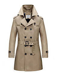 cheap -Men's Daily Plus Size Simple Vintage Casual Winter Fall Trench Coat,Solid Shirt Collar Long Sleeve Long Polyester