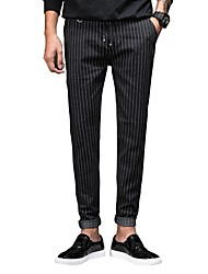 Men's Mid Rise Micro-elastic Jeans Pants,Chinoiserie Simple Straight Slim Striped