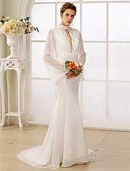 cheap -Mermaid / Trumpet High Neck Sweep / Brush Train Chiffon Wedding Dress with Beading Sashes/ Ribbons by LAN TING BRIDE®