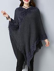 Standard Cloak / Capes Da donna-Casual Stoffe orientali Tinta unita Monocolore A V Mezza manica Acrilico Autunno Medio spessore Media