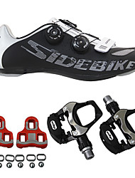 cheap -SIDEBIKE Adults' Cycling Shoes With Pedals & Cleats / Road Bike Shoes Nylon Anti-Shake / Damping, Cushioning, Breathable Cycling Black Men's / Breathable Mesh