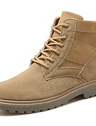 cheap -Men's Shoes Nubuck leather Spring Fall Comfort Boots Mid-Calf Boots Lace-up For Casual Outdoor Brown Black