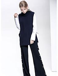 Для женщин На каждый день Простое Обычный Пуловер Однотонный,Круглый вырез Без рукавов Шерсть Осень Средняя Слабоэластичная