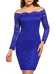 cheap -Women's Club Plus Size Casual Sexy Bodycon Lace Dress,Solid Boat Neck Above Knee Long Sleeves Polyester Spring Fall Mid Rise Micro-elastic