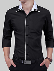 Men's Going out Casual/Daily Simple Summer Fall Shirt,Solid Classic Collar Long Sleeves Cotton Thin