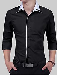 preiswerte -Herrn Solide Baumwolle Hemd, Klassischer Kragen / Langarm