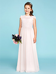 cheap -A-Line Princess Crew Neck Floor Length Chiffon Lace Junior Bridesmaid Dress with Buttons Pleats by LAN TING BRIDE®