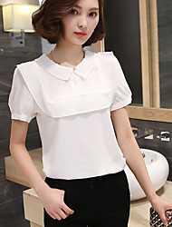 cheap -Women's Daily Casual Blouse,Solid Shirt Collar Short Sleeves Cotton