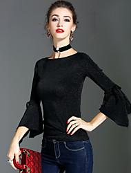 T-shirt Da donna Per eventi Per uscire Vintage Moda città Sofisticato Primavera Autunno,Tinta unita Rotonda Nylon Manica lunga Medio