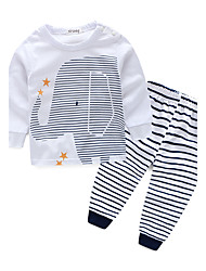 cheap -Boys' Stripe Clothing Set, Cotton Spring Fall Long Sleeves Stripes White