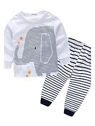 Недорогие -Дети (1-4 лет) Мальчики Полоски В полоску Длинный рукав Хлопок Набор одежды Белый