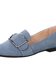 abordables -Femme Chaussures Croûte de Cuir Printemps / Eté Moccasin / Confort Mocassins et Chaussons+D6148 Bout carré Boucle pour De plein air Noir