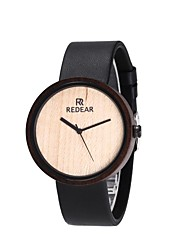 Women's Fashion Watch Wood Watch Japanese Quartz Wooden Genuine Leather Band Charm Elegant Minimalist Black
