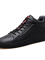 Men's Shoes Real Leather Fall Winter Comfort Sneakers Lace-up For Wedding Office & Career Red Black White