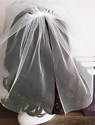 Deux couches Bord coupé Voiles de Mariée Voiles Blush Avec Volants Tulle