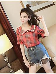 cheap -Women's Cotton Shirt - Plaid / Check Pant Shirt Collar / Summer
