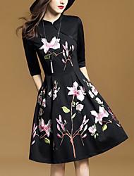 Linea A Vestito Da donna-Per uscire Moda città Collage Ricamato Colletto alla coreana Sopra il ginocchio Mezza manica Cotone Poliestere