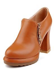 preiswerte -Damen Schuhe Kunstleder Winter Herbst Pumps High Heels Blockabsatz Runde Zehe Booties / Stiefeletten Reißverschluss für Kleid Büro &