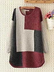 Lungo Pullover Da donna-Per uscire Casual Semplice Romantico Monocolore Rotonda Manica lunga Cotone Primavera Autunno Medio spessore
