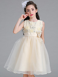 cheap -Princess Knee Length Flower Girl Dress - Satin Net Sleeveless Jewel Neck with Sequin by Bflower