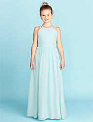 cheap -A-Line / Princess Jewel Neck Floor Length Chiffon Junior Bridesmaid Dress with Ruched / Side-Draped by LAN TING BRIDE® / Wedding Party / Open Back