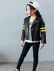 cheap -Girls' Solid Jacket & Coat,PU Cotton Spring Fall Long Sleeve Stripes Black