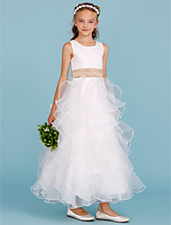 cheap -A-Line Ankle Length Flower Girl Dress - Organza Satin Sleeveless Jewel Neck with Sash / Ribbon Cascading Ruffles by LAN TING BRIDE®