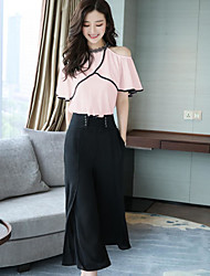cheap -Women's Daily Casual Summer Blouse Pant Suits,Solid Crew Neck Short Sleeve Polyester