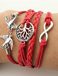 cheap -Men's / Women's Wrap Bracelet / Leather Bracelet - Leather Bird, Infinity Vintage, Bohemian, Fashion Bracelet Red For Christmas / Wedding / Party