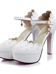 Damen Schuhe PU Frühling Herbst Komfort Neuheit High Heels Stöckelabsatz Runde Zehe Schnalle Ausgehöhlt Für Hochzeit Party & Festivität