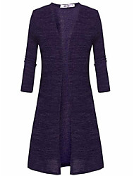 cheap -Women's Long Sleeves Long Cardigan - Solid Stand