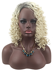abordables -Mujer Pelucas sintéticas Medio Rizado Rubio Pelo Ombre Peluca natural Pelucas para Disfraz