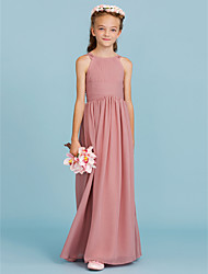 cheap -A-Line Princess Crew Neck Floor Length Chiffon Junior Bridesmaid Dress with Draping Ruching by LAN TING BRIDE®