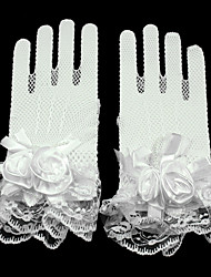 cheap -Lace Net Wrist Length Glove Mesh Bridal Gloves Party/ Evening Gloves With Floral Pleated