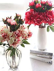 Недорогие -искусственные цветы падают яркий пион фальшивый лист свадьба домой украшение вечеринки 1 ветка