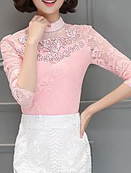 abordables -Mujer Encaje - Blusa, Escote Chino Un Color Poliéster