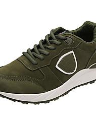 Feminino Sapatos Borracha Outono Conforto Tênis Rasteiro Ponta Redonda Cadarço Para Preto Cinzento Verde Tropa