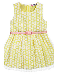 cheap -Girl's Birthday Daily Holiday Jacquard Dress, Cotton Summer Sleeveless Lace Blushing Pink Yellow