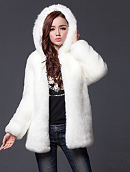 cheap -Women's Daily Simple Casual Street chic Winter Plus Size Long Fur Coat, Solid Hooded Polyester Fur Trim