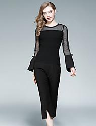 Feminino Blusa Calça Conjuntos Casual Para Noite Moda de Rua Outono,Sólido Vazado Fenda Decote Redondo Manga Longa Micro-Elástica