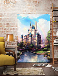 cheap -Hand-Painted Famous Vertical, Antique Artistic Cartoon Cool Modern/Contemporary Office/Business New Year's Christmas Canvas Print Home