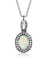 baratos -Mulheres Forma Geométrica Vintage Colares com Pendentes Opal Synthetic Prata de Lei Colares com Pendentes , Festa
