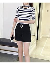 Standard Pullover Da donna-Casual A strisce Rotonda Mezza manica Cashmere Primavera Estate Sottile Media elasticità