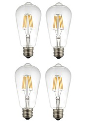 abordables -4pcs 6W 560lm E27 Ampoules à Filament LED ST64 6 Perles LED COB Décorative Blanc Chaud Blanc 220-240V