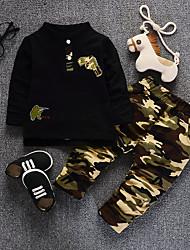cheap -Boys' Print Clothing Set,Cotton Fall Long Sleeve Black Red Army Green