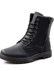 cheap -Men's Boots Comfort Combat Boots Fall Winter Leather Casual Zipper Lace-up Flat Heel Brown Black Flat