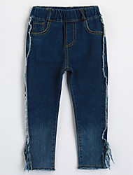 cheap -Girls' Solid Jeans,Cotton Fall Blue