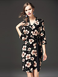 FRMZ Women's Daily Going out Casual Loose Dress,Floral Shirt Collar Above Knee 3/4 Length Sleeves Cotton Others Spring Fall Mid Rise