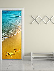 77*200cm 3D Sea Sandy Beach Door Mural Sticker 3D Decorative Starfish Waves Removable Scenery Door Mural Decal Home Decor for Living Room